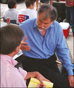 Michael Lewis (author, Moneyball) interviewing Warren Farrell for the New York Times during Warren's 2003 run for Governor of California.
